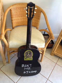 no need to bring a guitar on the airplane. just rent one from the surfer shack when you arrive.