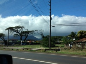 a view of 'the slot' on highway 380, east of the mountains of West Maui