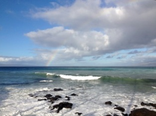 rainbow, high winds, and big waves