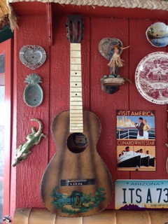 vintage 1930s Supertone guitar, 'in situ'
