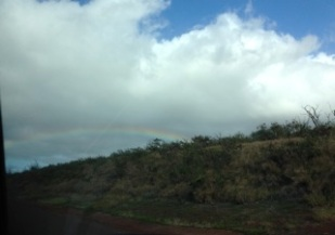 rainbow - seen from car window