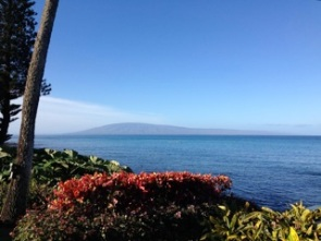 view of Lanai from Lahaina, calm waters today