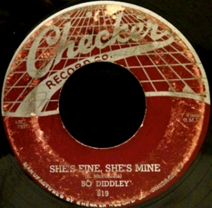 Checker 819, 1955, Bo Diddley on vibro-guitar, featuring Billy Boy Arnold on harmonica. Very hard to find these days. Plays nicely.