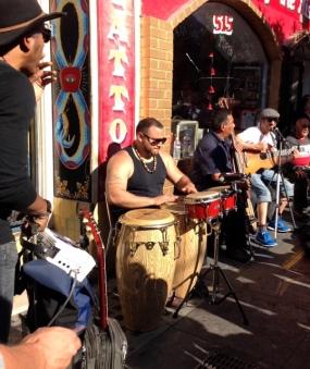 Valencia Street, San Francisco, authentic rumba group in front of La Cumbre taqueria