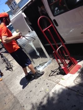 Stay Cool! major ice block delivery on 16th Street, Mission District, SF