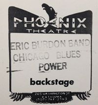 Backstage pass for Phoenix Theater gig - yes, I still have this - call me packrat.